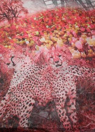Красивый шарф платок принт пейзаж леопарды