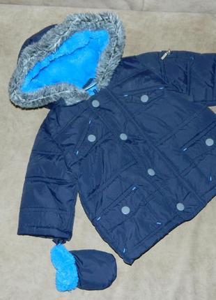 Куртка синяя теплая на малыша 3-6 месяцев ladybird.