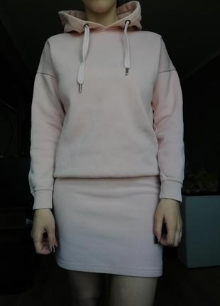 Пудровое платье худи толстовка def