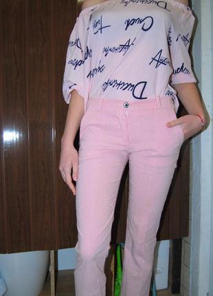 Летние брюки в розовую полоску укороченные