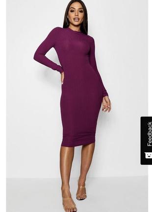 Платье гольф в рубчик миди длины,платье водолазка в рубчик  цвет фуксия,платье boohoo.