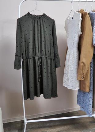 Сукня в горошок з воланами на рукавах / платье в горошек papaya