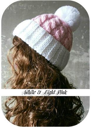 ❆ любая расцветка! хлопковая шапка с отворотом/помпон/косы/белый, нежно-розовый1