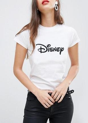 """Белая женская футболка """"disney"""" 100% коттон размеры испания"""