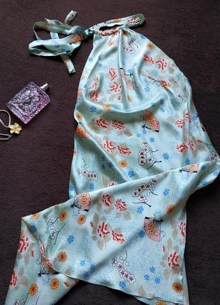 Роскошное шелковое платье с японским принтом от sandro(франция)
