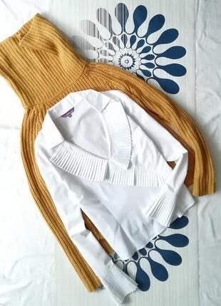 Белая блуза блузка плиссе плиссировку esprit хлопковая біла сорочка блузочка плісе