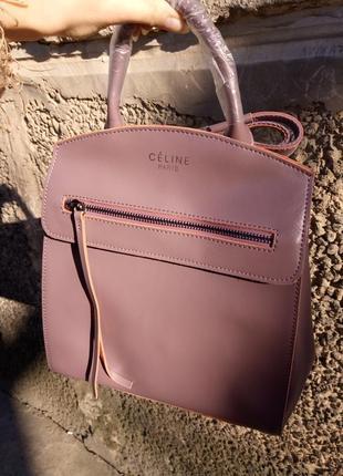 Женский кожаный рюкзак пудровый на весну сумка-рюкзак розовый красивый городской италия