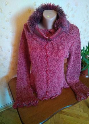 Тёплый шерстяной эксклюзивный свитер с меховым воротом, размер 12-14