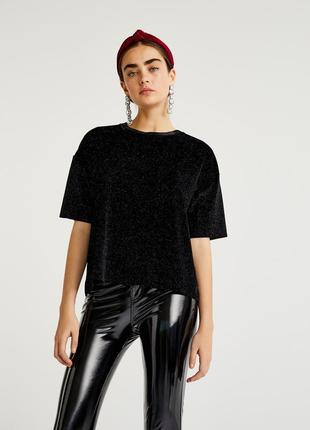 Sale! чёрная велюровая футболка с блеском pull&bear