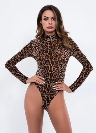 Боди леопардовое на длинный рукав