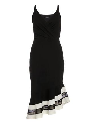 Чёрное миди платье футляр с воланом и прозрачной вставкой