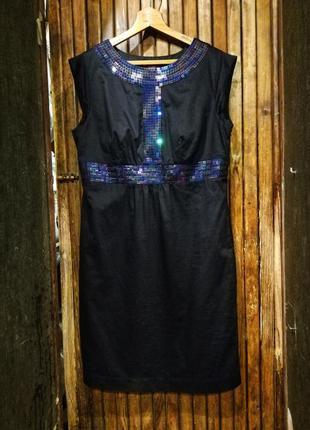 Великолепное платье monsoon сверкающее с пайетками хамелеон по фигуре миди хлопок