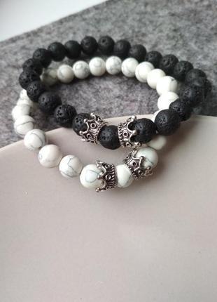 Набор браслетов, парные браслеты, браслеты для влюбленных из натуральных камней
