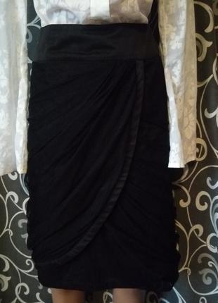 Бомбезная юбка карандаш миди с фатином