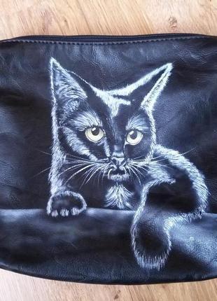 Сумка клатч ручная роспись кот на счасье