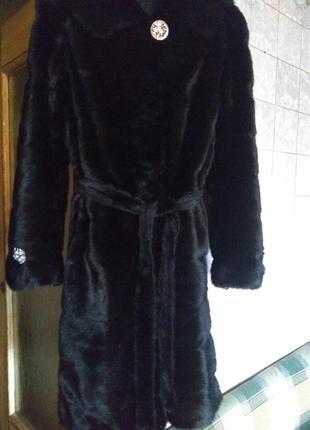 Очень красивая норковая шуба с капюшоном и поясом 100 см р.44-46