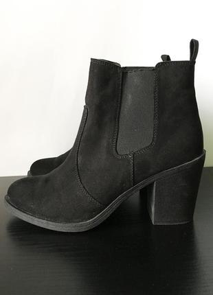 2ed2f410 Женские ботинки челси на каблуке, замшевые ботильоны h&m (демисезонные  ботинки) 23,5