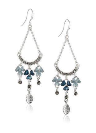 Длинные серьги эмаль кристаллы сваровски pilgrim дания элитная ювелирная бижутерия
