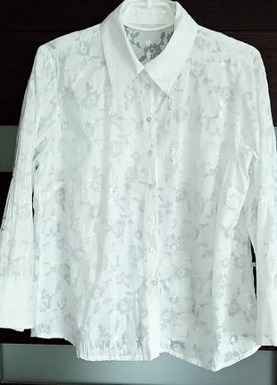 Белая хлопковая рубашка-блуза в цветы на 50-52 размер