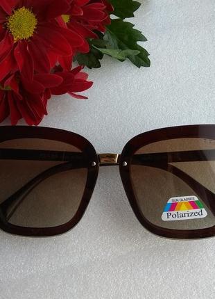 New 2019! новые стильные солнцезащитные очки с поляризацией, коричневые