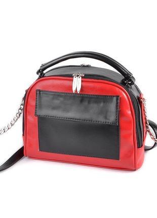 Красная молодежная сумка через плечо чемоданчик с ручкой