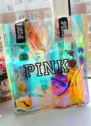 Пляжная летняя прозрачная сумка pink