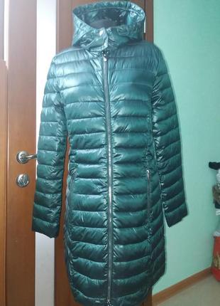 Пальто стеганное amisu теплое демисезон с капюшоном 34-38рр