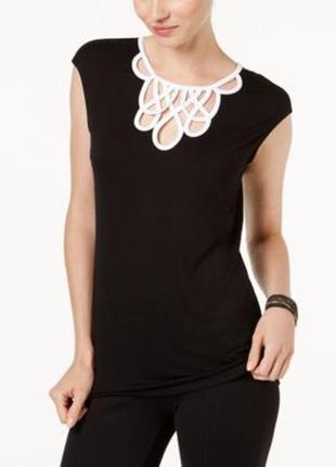 """Топ блуза  b&w с акцентным декольте и застежкой """"замочная скважина """", xl на 50-52 рр1"""