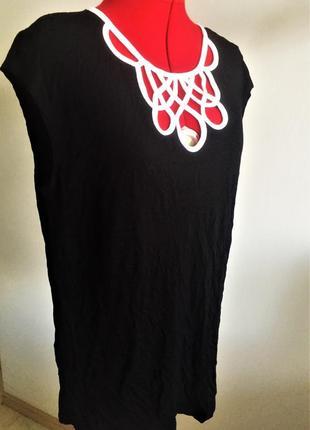 """Топ блуза  b&w с акцентным декольте и застежкой """"замочная скважина """", xl на 50-52 рр3"""