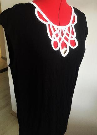 """Топ блуза  b&w с акцентным декольте и застежкой """"замочная скважина """", xl на 50-52 рр4"""