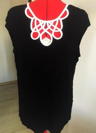 """Топ блуза  b&w с акцентным декольте и застежкой """"замочная скважина """", xl на 50-52 рр6"""