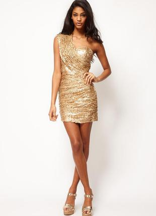 Нарядное золотистое платье в пайетках на одно плечо tally weijl
