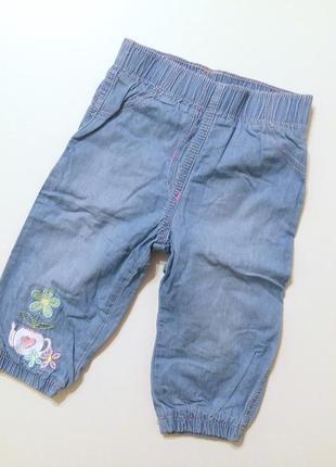 Джинсы штаны девочке 6-9мес 68-74см голубые на подкладке теплые весна