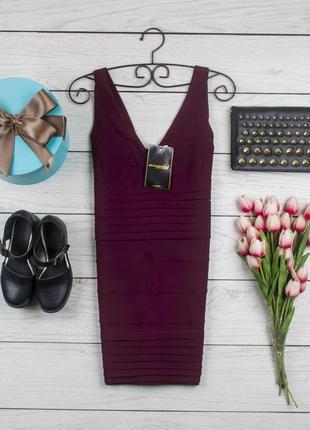Бандажное платье цвета бургунди от missguided рр 14 наш 48