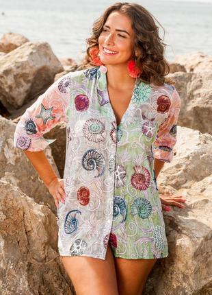 Новинки 2019 пляжная туника рубашка из хлопка с пайетками код 1111