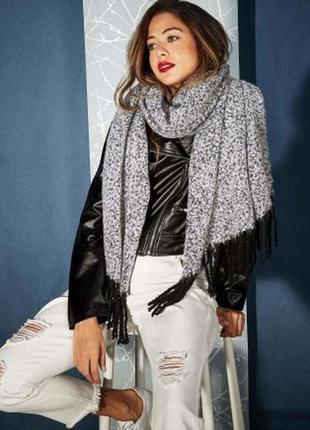Серый узорный теплый шарф (бесплатная доставка)