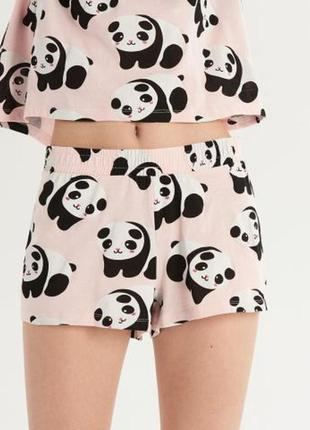 Акция - 3 дня!пижама с шортами панды розовая