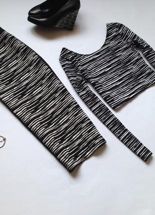 Трикотажный костюм юбка карандаш  топ h&m