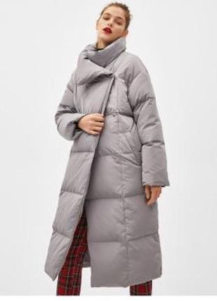 Пуффер bershka серый куртка -одеяло