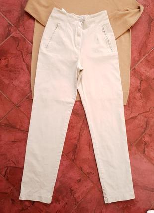 Бежевые джинсы высокая посадка mom vanilia италия