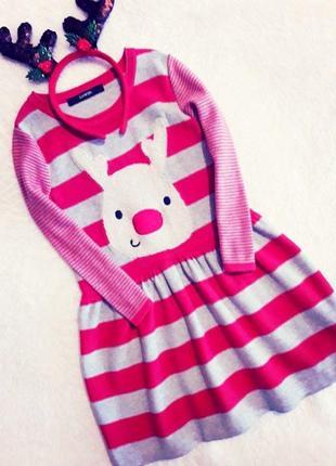 Бомбезное весеннее платье с рукавами с оленем george. ободок с рожками- в подарок.