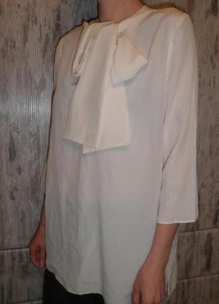 Оригинальная блуза рубашка 100% шелк cos с бантом размер eur 38