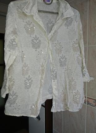 Крутая белая рубашка в пайетках