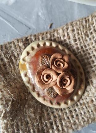 Брошь керамика глина розы цветы ручная работа винтажная