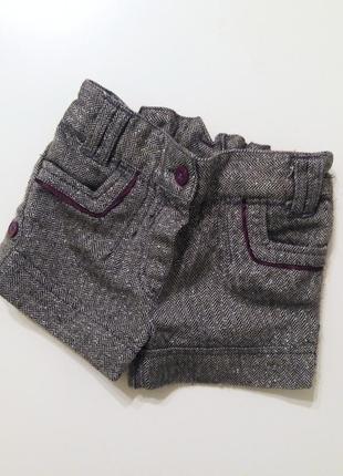 Теплые шортики девочке 12-18мес 80-86см шорты весна серые блестящие