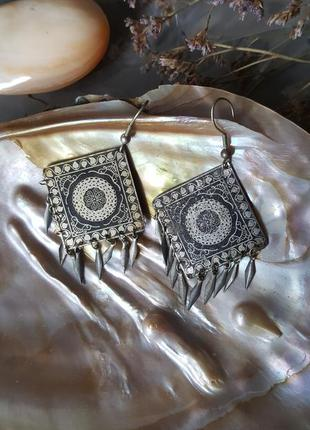 Серьги этно бохо винтажные богемный стиль серебряного цвета большие легкие пластинки