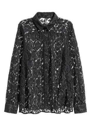 Гипюрная кружевная блуза рубашка zara