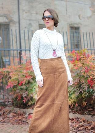 Длинная юбка микровельвет,прямой крой