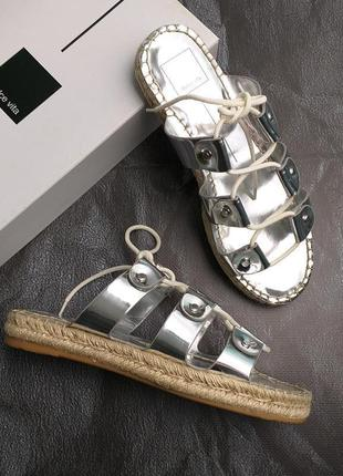 Dolce vita оригинал кожаные серебристые сандалии гладиаторы на платформе бренд