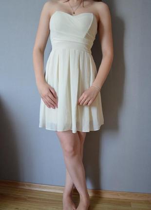 Шикарное короткое коктейльное шифоновое платье бьюстье с корсетом